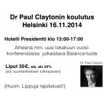 16.11.2014 Team Zinzino Finland Erikoiskoulutus - Dr. Paul Clayton
